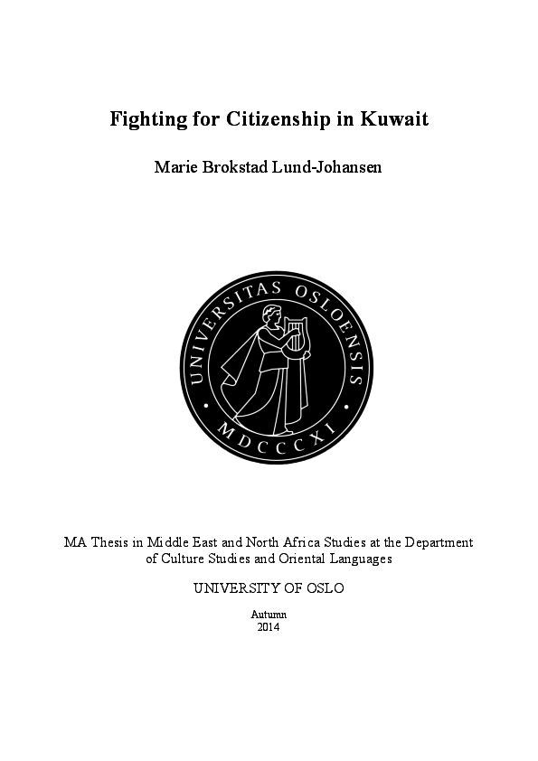 PDF) Fighting for Citizenship in Kuwait | Marie Brokstad