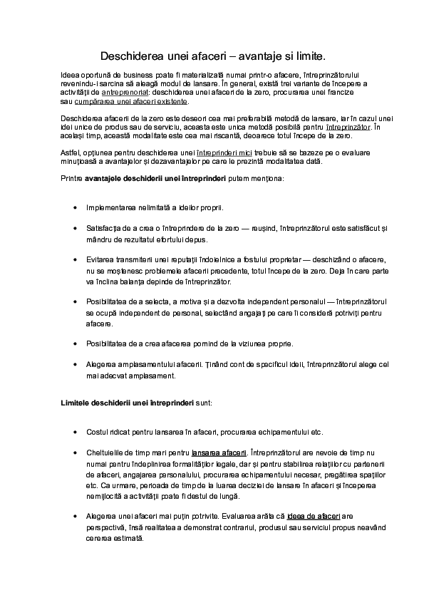 metoda opțiunii pentru evaluarea afacerii)