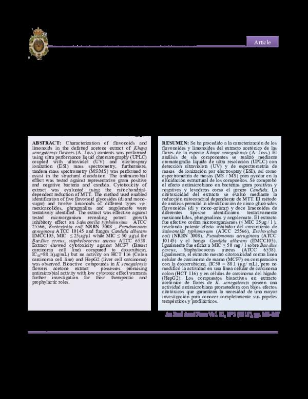 literature review on khaya senegalensis