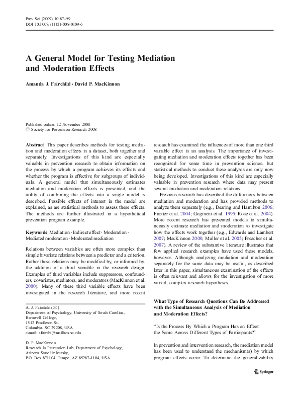 PDF) A General Model for Testing Mediation and Moderation
