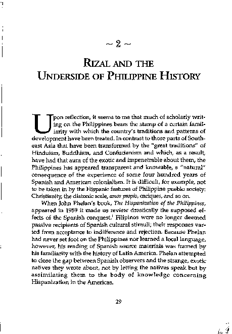 PDF) Rizal and the Underside of Philippine History (re-scan