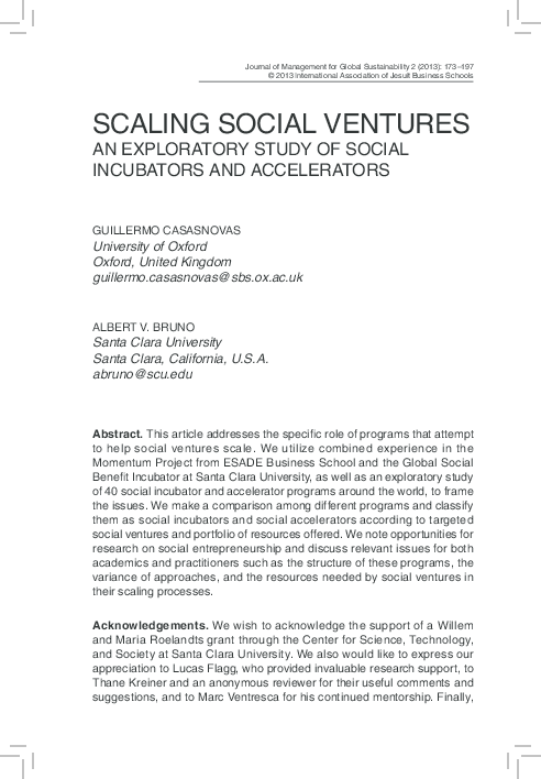 PDF) Scaling Social Ventures: An Exploratory Study of Social
