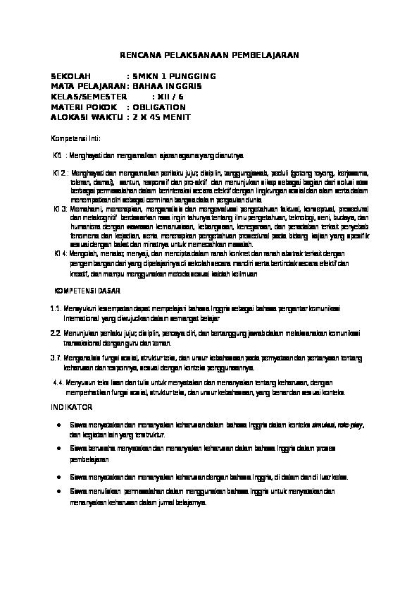 Doc Rpp Obligation Danasty Wulan Academia Edu