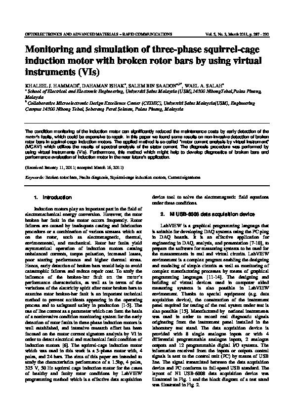 Pdf Monitoring And Simulation Of Three Phase Squirrel Cage Induction Motor With Broken Rotor Bars By Using Virtual Instruments Vis Wael Salah And Dahaman Ishak Academia Edu