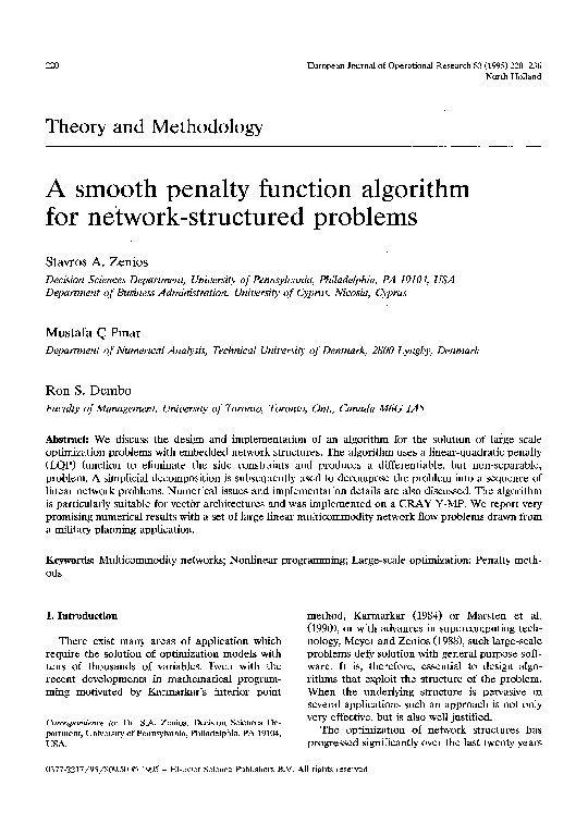 PDF) A smooth penalty function algorithm for network