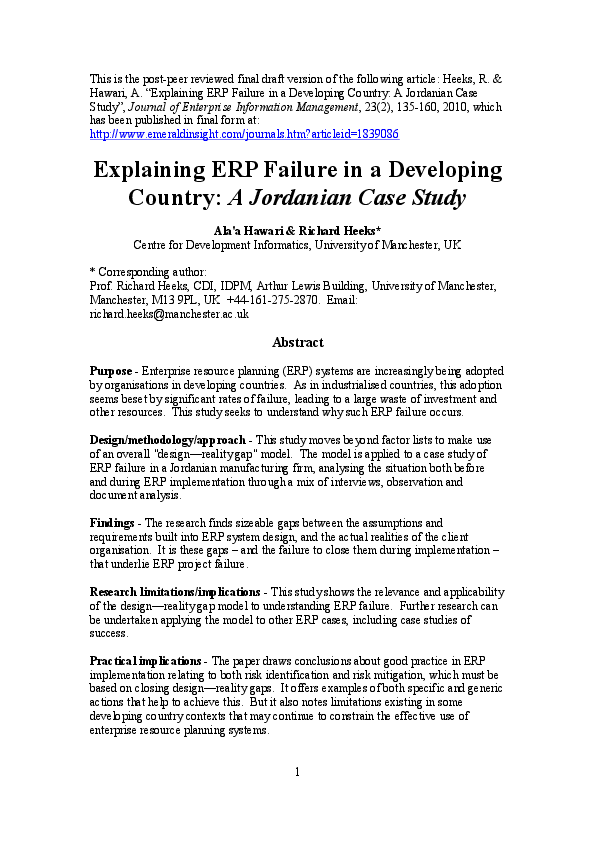 PDF) Explaining ERP failure in a developing country: a