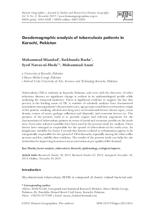 PDF) Geodemographic analysis of tuberculosis patients in