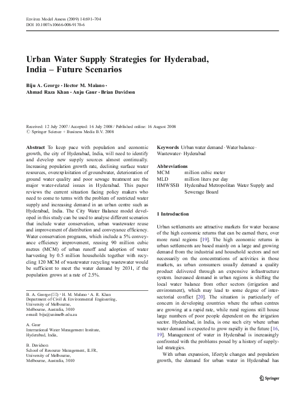 PDF) Urban Water Supply Strategies for Hyderabad, India