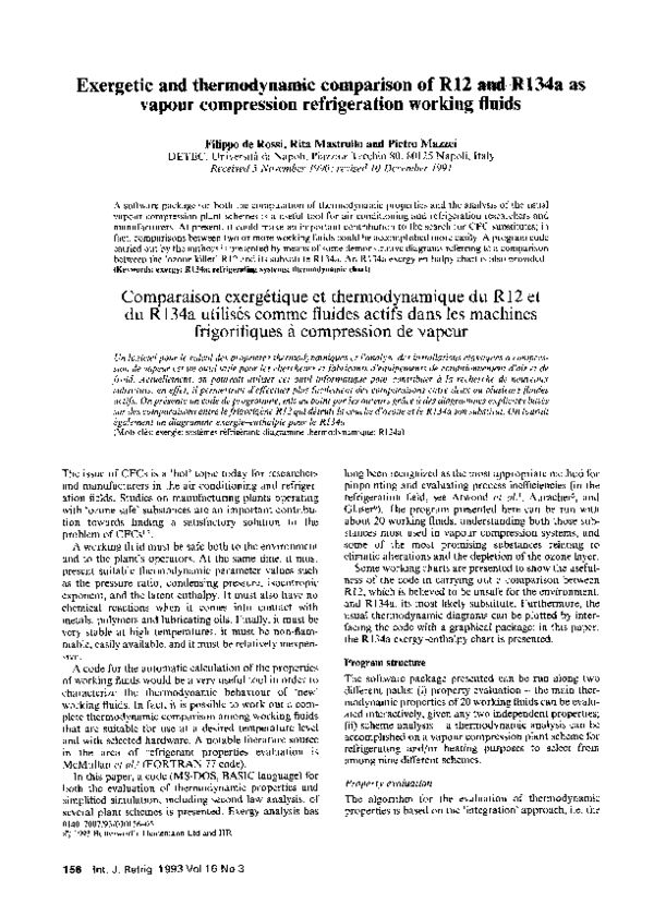 PDF) Exergetic and thermodynamic comparison of R12 and R134a