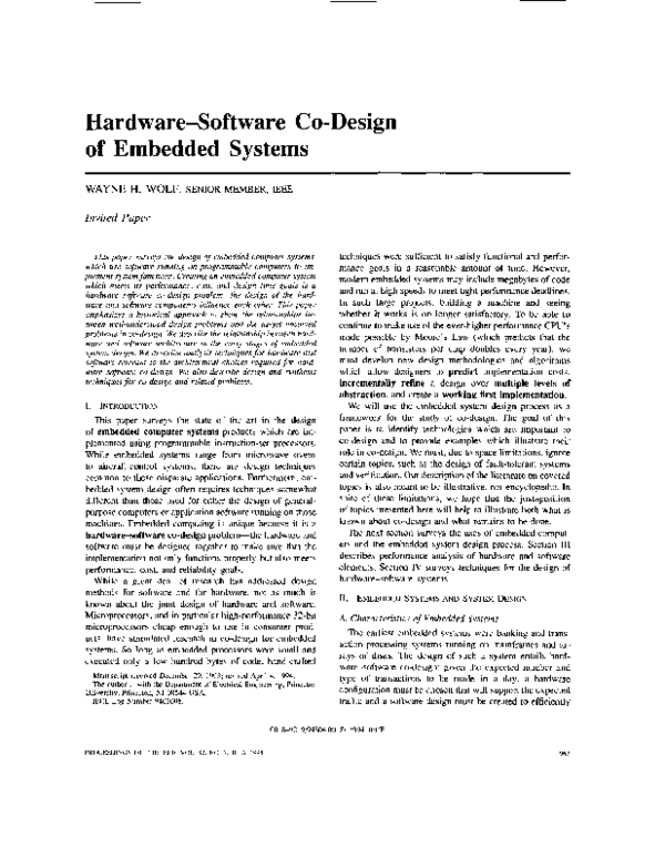 Pdf Hardware Software Codesign Of Embedded Systems Ellen Sentovich Academia Edu