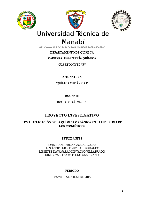Doc Proyecto Quimica Organica Cosmeticos Finish Luis Angel Mb