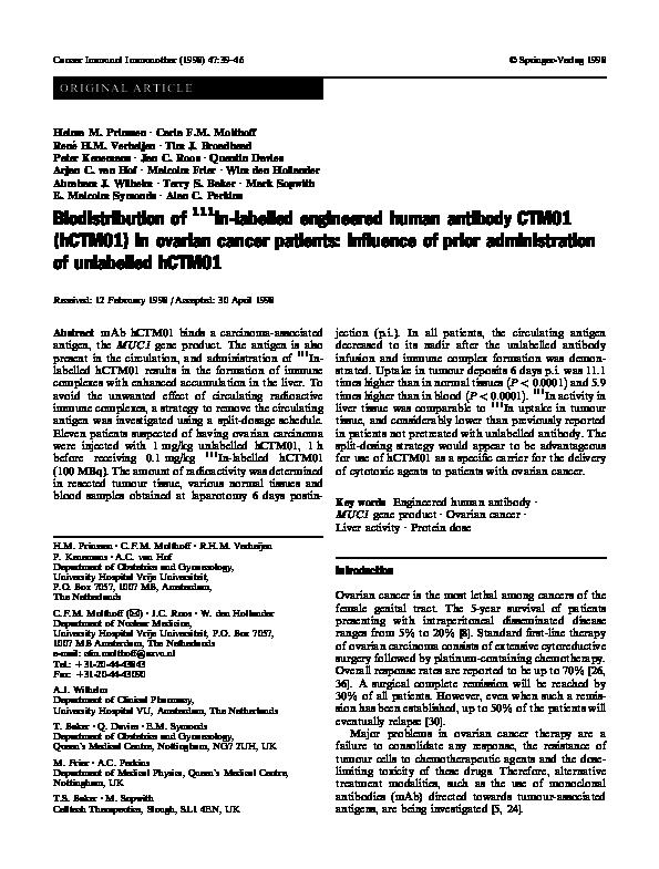 Biodistribution of 111 In-400-2 mAb in B. dermatitidis