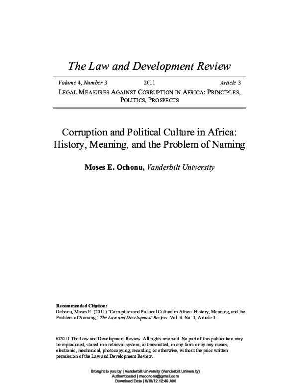 PDF) Corruption and Political Culture in Africa: History, Meaning, and the  Problem of Naming, 4 The Law and Development Review no. 3 (2011). Article 3  | Moses Ochonu - Academia.edu