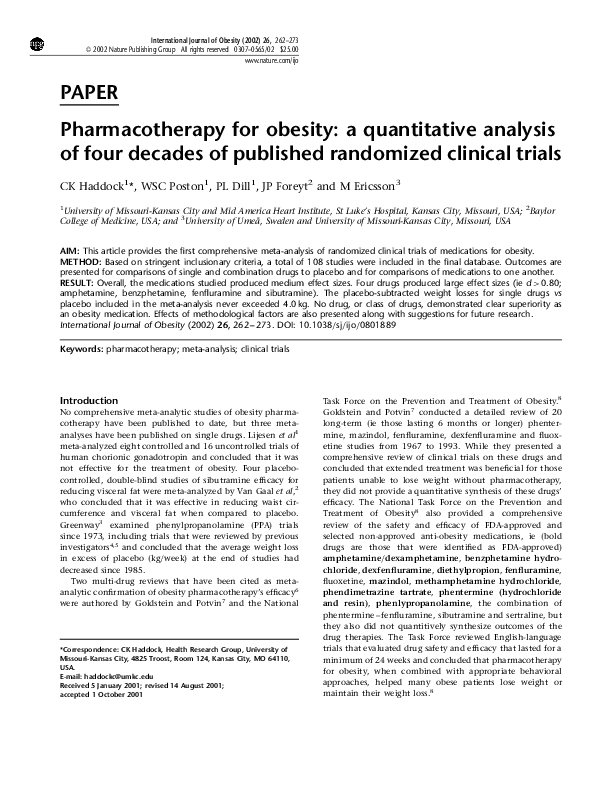 PDF) Pharmacotherapy for obesity: a quantitative analysis of