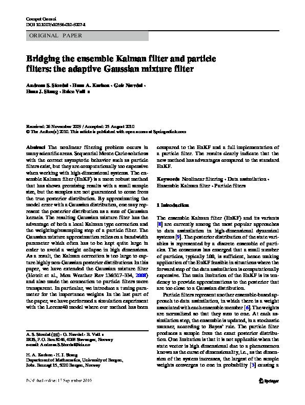 PDF) Bridging the ensemble Kalman filter and particle