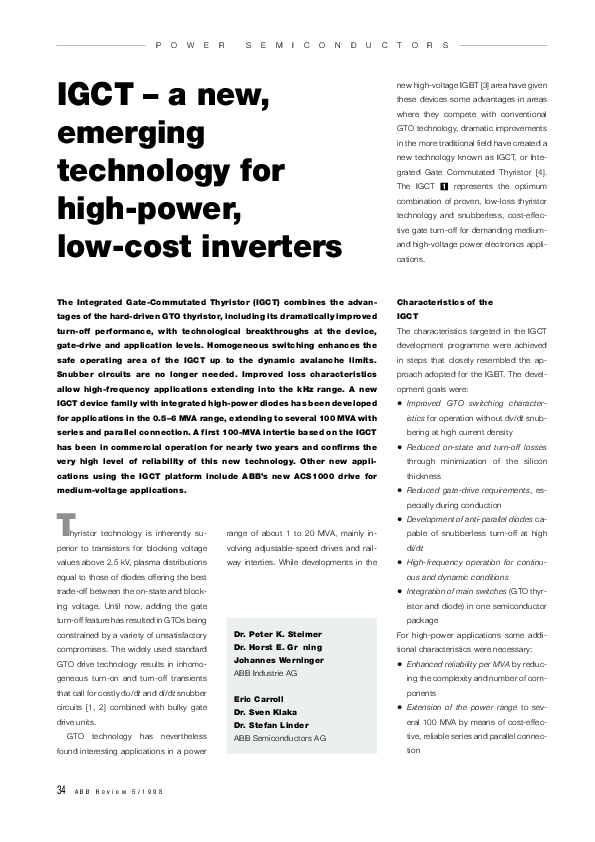 PDF) IGCT-a new emerging technology for high power, low cost