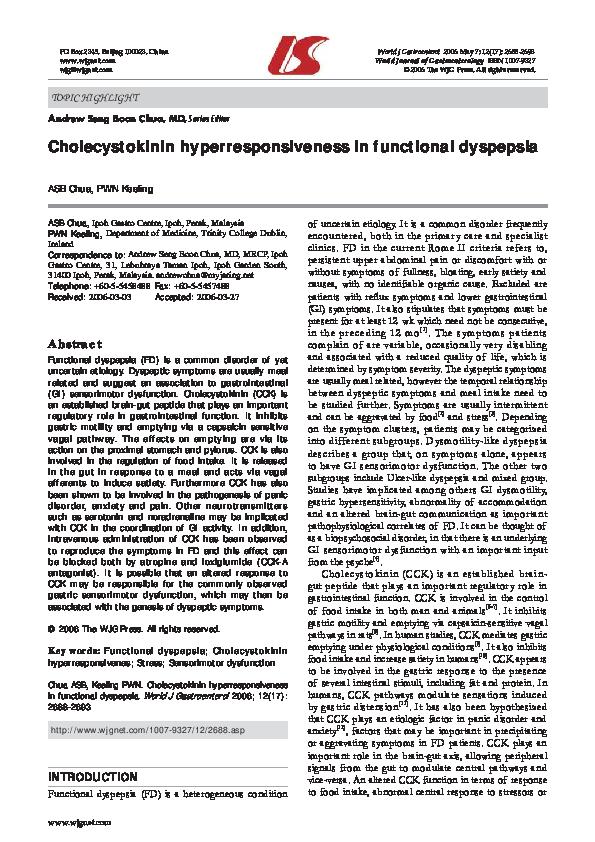 PDF) Cholecystokinin hyperresponsiveness in functional dyspepsia