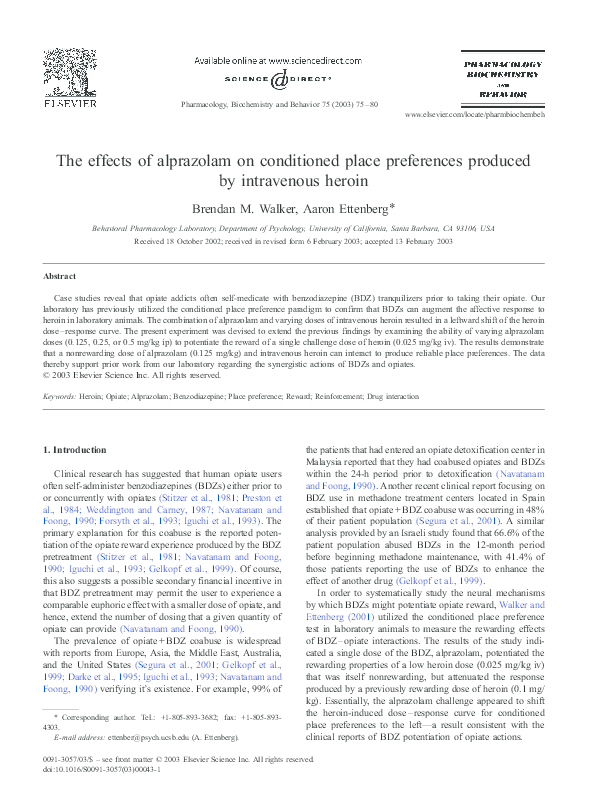 PDF) The effects of alprazolam on conditioned place