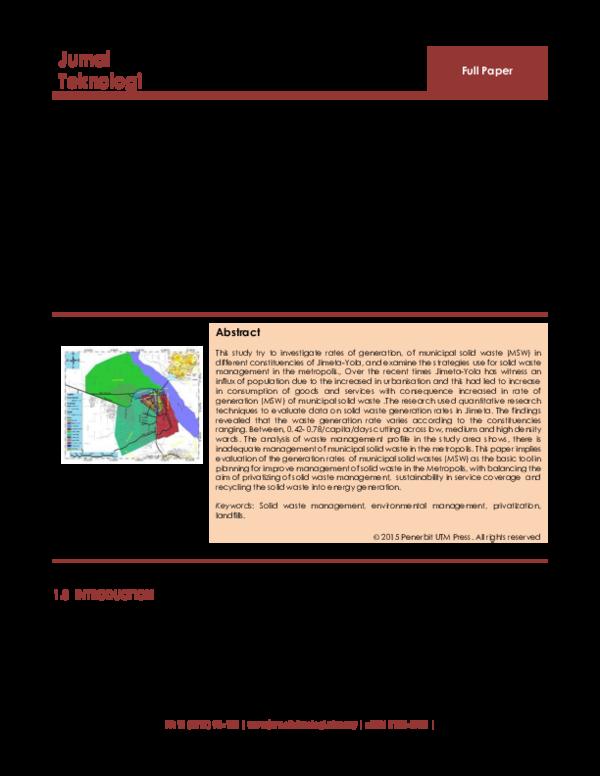 PDF) APPRAISAL OF MUNICIPAL SOLID WASTE MANAGEMENT (MSWM) IN JIMETA