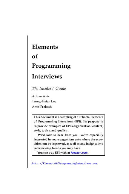 Elements Of Programming Interviews Shivam Gupta Academia