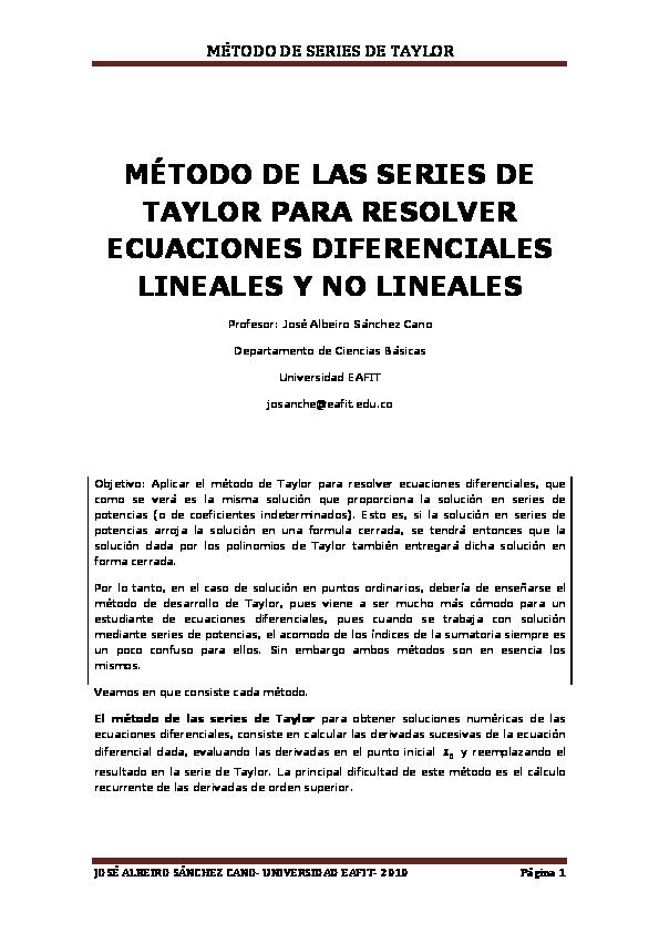 PDF) MÉTODO DE LAS SERIES DE TAYLOR PARA RESOLVER ECUACIONES