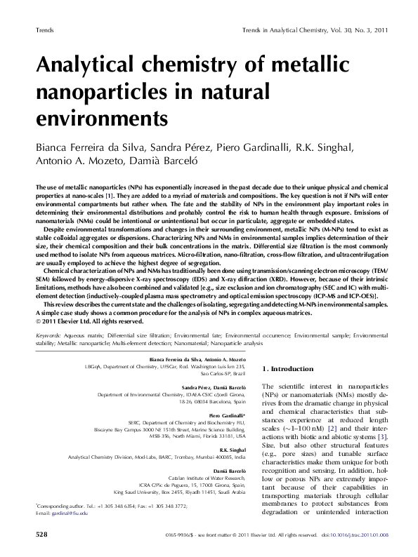 PDF) Analytical chemistry of metallic nanoparticles in natural