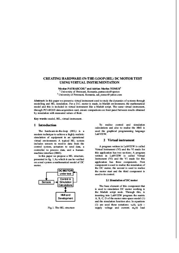 PDF) DC motor HIL   Nicolae Patrascoiu - Academia edu
