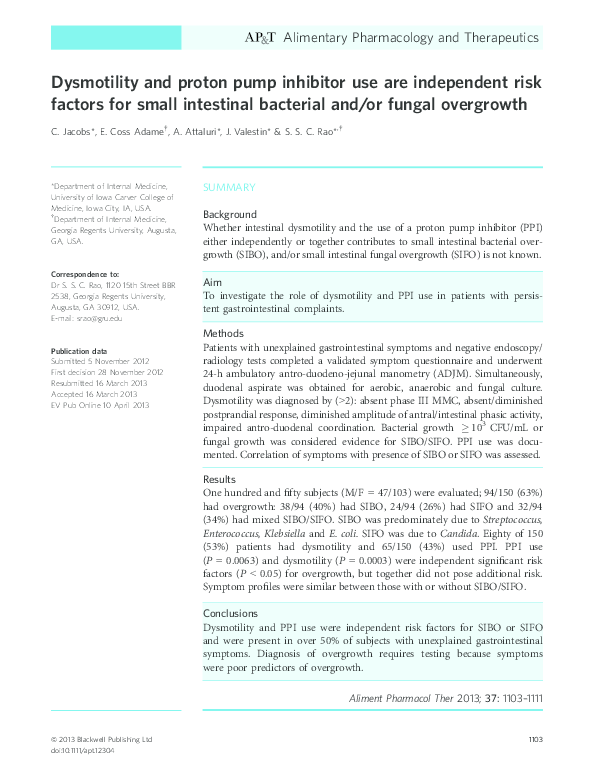 PDF) Investigation of Small Intestinal Fungal Overgrowth