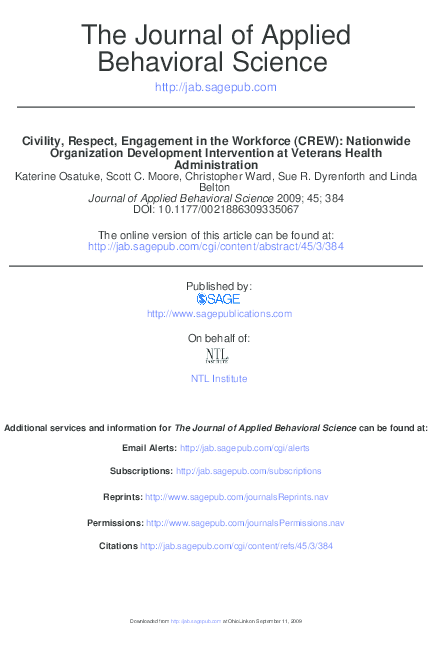 PDF) Civility, Respect, Engagement in the Workforce (CREW