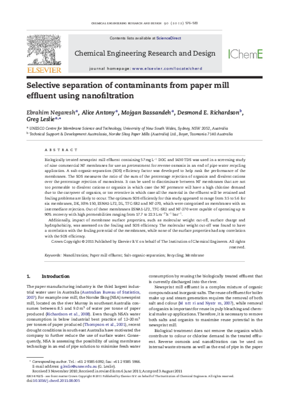 Pdf Selective Separation Of Contaminants From Paper Mill Effluent Using Nanofiltration Alice Antony Academia Edu