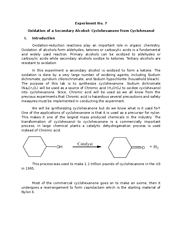 DOC) Oxidation of a Secondary Alcohol: Cyclohexanone from