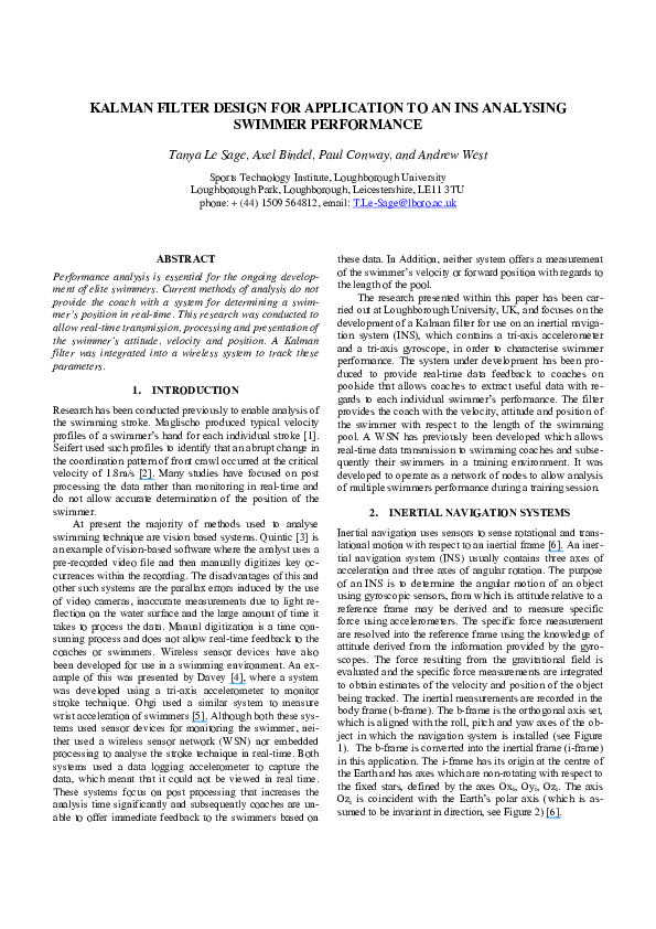PDF) Kalman filter design for application to an INS analysing
