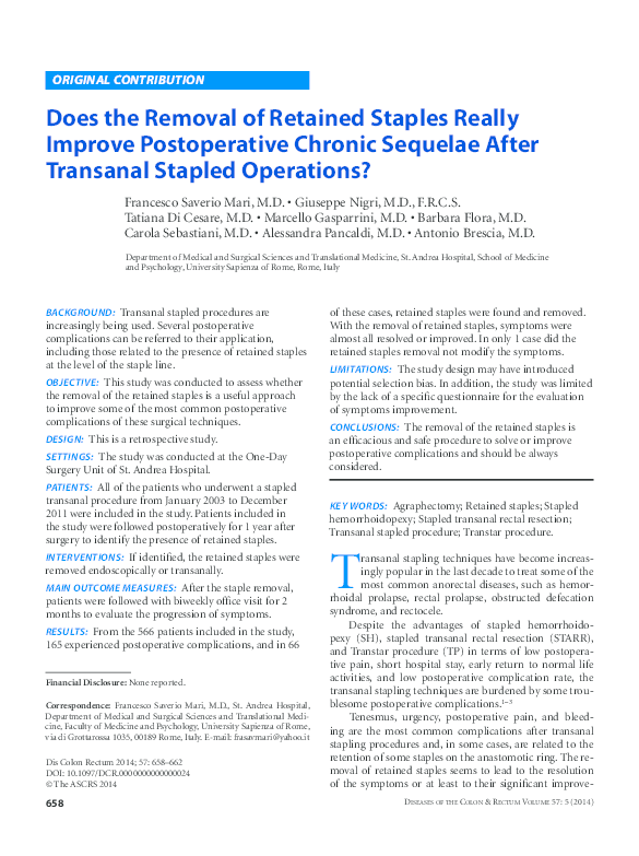 PDF) Does the Removal of Retained Staples Really Improve