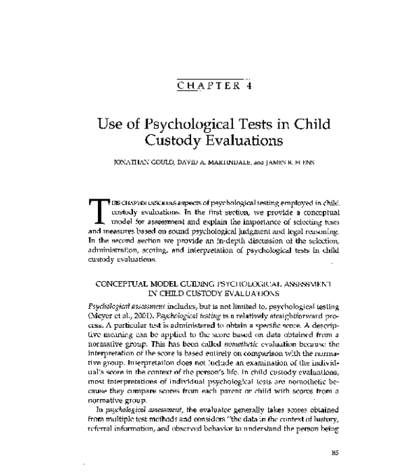 PDF) Use of Psychological Tests in Child Custody Assessment