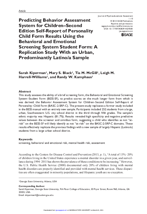 Pdf Predicting Behavior Assessment System For Children Second Edition Self Report Of Personality Child Form Results Using The Behavioral And Emotional Screening System Student Form A Replication Study With An Urban Predominantly Latino A Sample