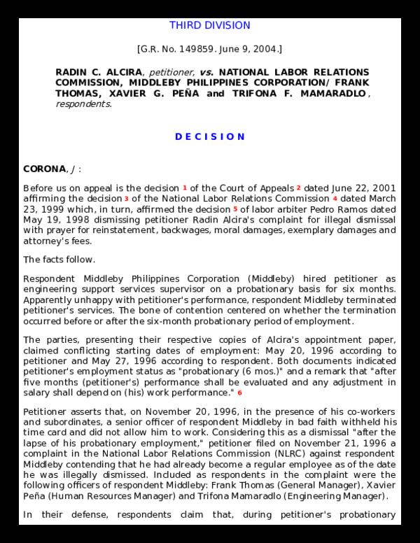 PDF) Alcira v  NLRC, G R  No  149859, [June 9, 2004