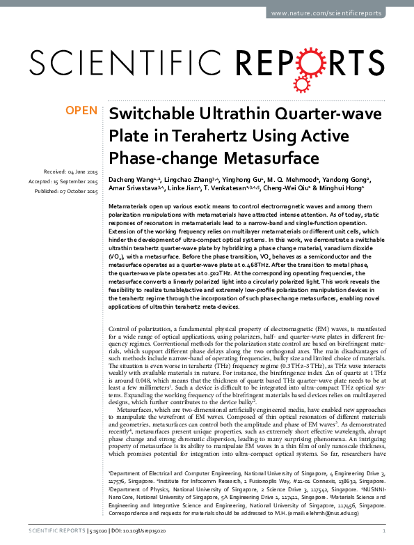 PDF) Switchable Ultrathin Quarter-wave Plate in Terahertz