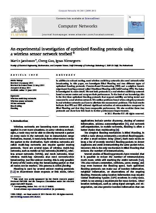 PDF) An experimental investigation of optimized flooding protocols using a  wireless sensor network testbed | Ignas G. M. M. Niemegeers - Academia.edu