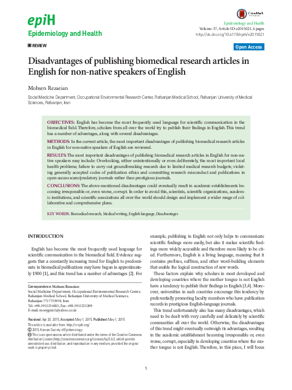 PDF) Disadvantages of publishing biomedical research