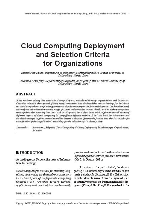 PDF) Cloud Computing Deployment and Selection Criteria for