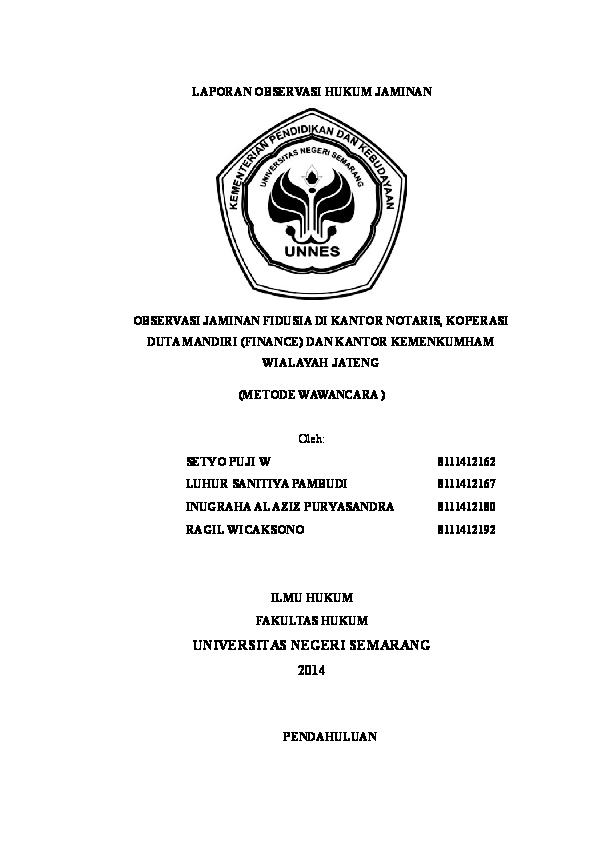 Doc Laporan Fidusia Inugraha Al Aziz Academia Edu