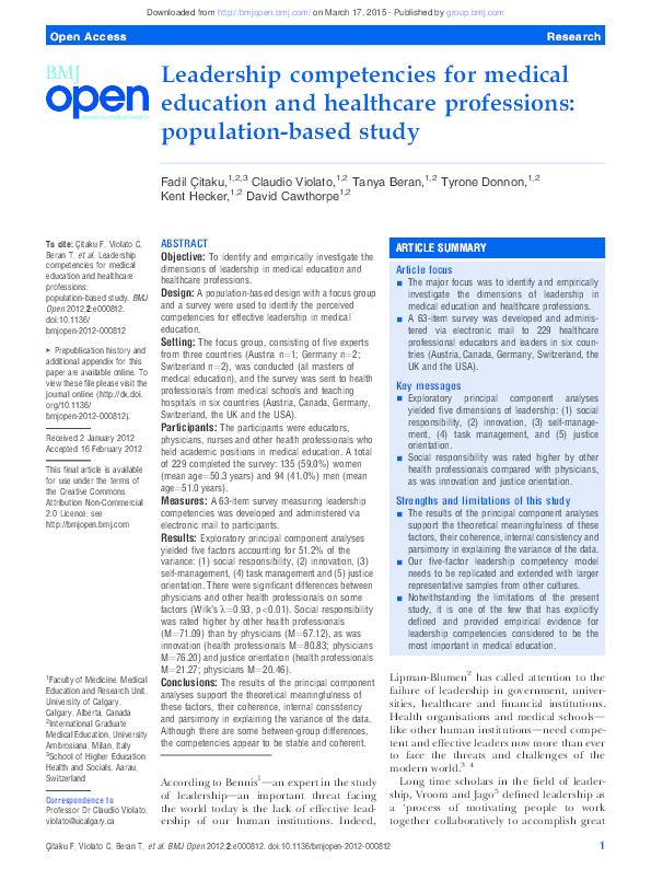 PDF) Leadership Competencies in Medical education BMJ Open