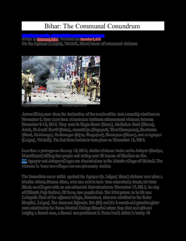 DOC) Bihar: The Communal Conundrum--Lalganj (Vaishali) Riots Nov