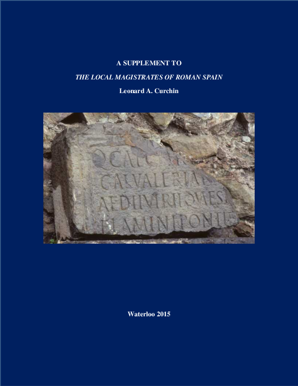 Pdf A Supplement To The Local Magistrates Of Roman Spain E