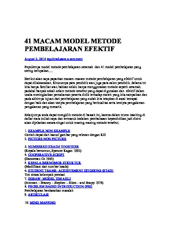 Doc 41 Macam Model Metode Pembelajaran Sudar Eko P Academia Edu