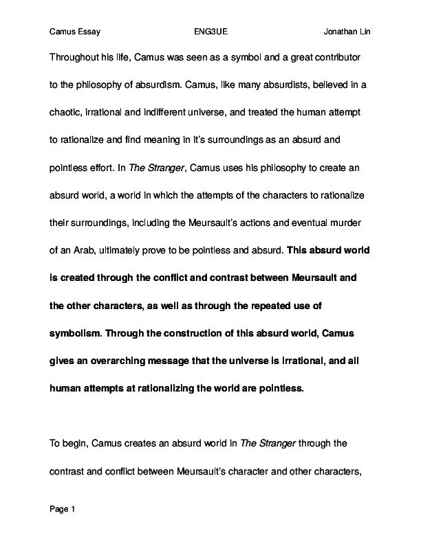 Essay Proposal Examples Docx From Thesis To Essay Writing also Synthesis Essay Ideas Ib Essay  An Absurd World In The Stranger By Camus  Jonathan Lin  English Class Reflection Essay