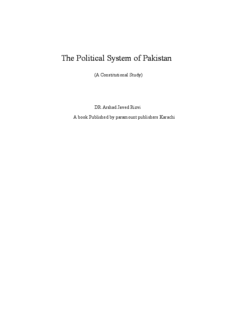 DOC) The Political System Of Pakistan ( A Constitutional