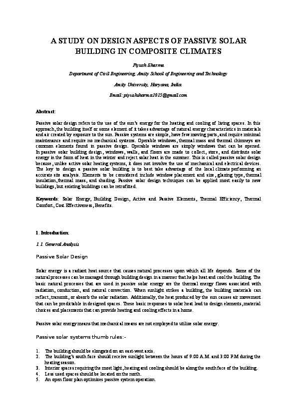 DOC) A STUDY ON DESIGN ASPECTS OF PASSIVE SOLAR BUILDING IN