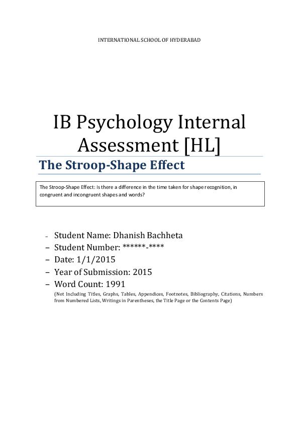 PDF) IB Psychology HL Internal Assessment: The Stroop Effect