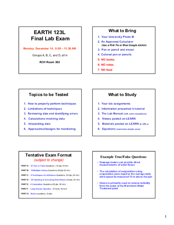 PDF) Final Exam Review Earth 123L 2015 v3 | Yuan Cheng - Academia edu